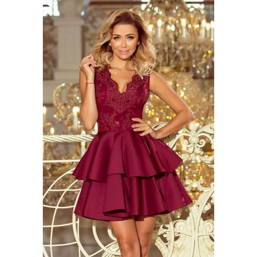 Bordové spoločenské šaty s čipkou a dvojitou sukňou