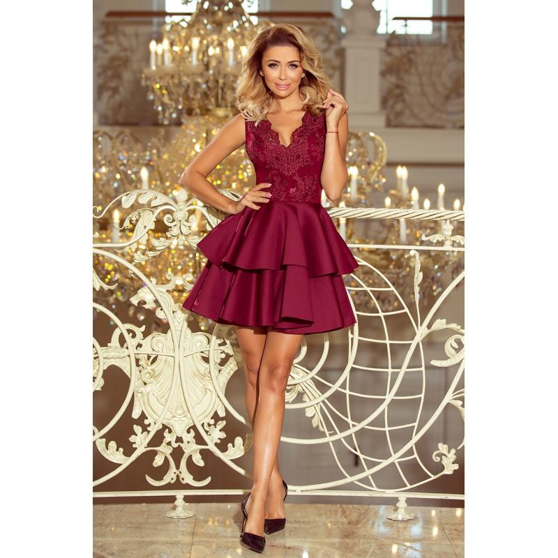Bordové spoločenské šaty s čipkou a dvojitou sukňou 92eba903368