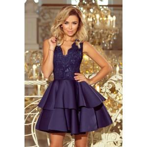 Krátke spoločenské šaty na svadbu tmavo modrej farby