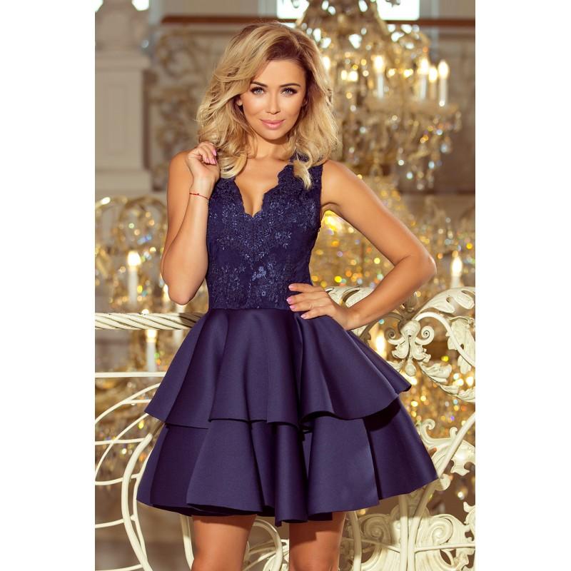8d016b56cd50 Krátke spoločenské šaty na svadbu tmavo modrej farby