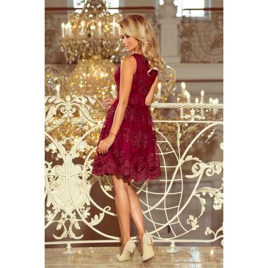 Krátke bordové šaty na ples