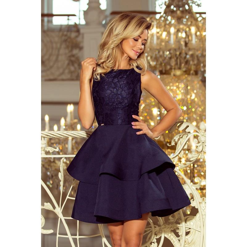 Tmavo modré čipkované šaty bez výstrihu s dvojitou sukňou 5904584a75d