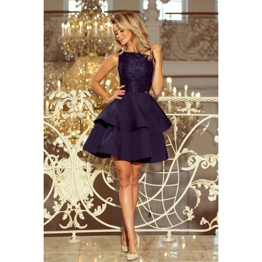 Tmavo modré čipkované šaty bez výstrihu s dvojitou sukňou
