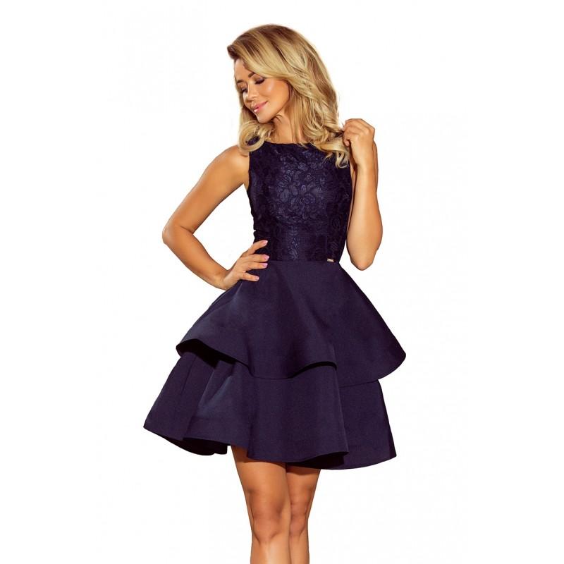 fea95efe52d2 Tmavo modré čipkované šaty bez výstrihu s dvojitou sukňou