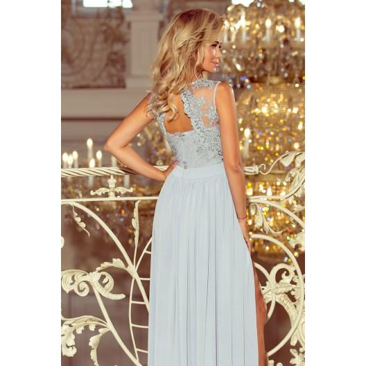 Plesové šaty dlhé v striebornej farbe