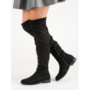 Dámske čierne čižmy nad kolená muškatierky na nízkom opätku