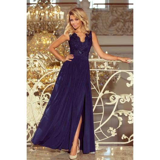 Dlhé šaty na stužkovú v tmavo modrej farbe