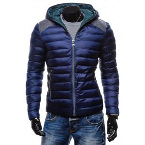 Moderné zimné bundy za akciové ceny modrej farby s kapucňou na zips