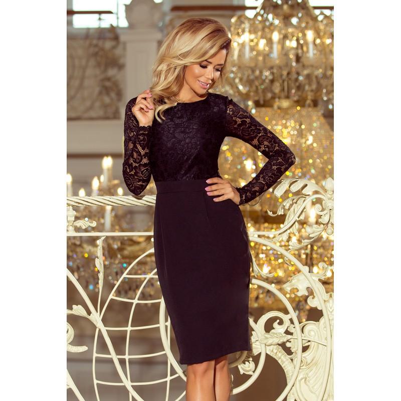 fee0f1bb7f6d Plesové šaty krátke s čipkou v čiernej farbe