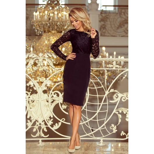 Plesové šaty krátke s čipkou v čiernej farbe