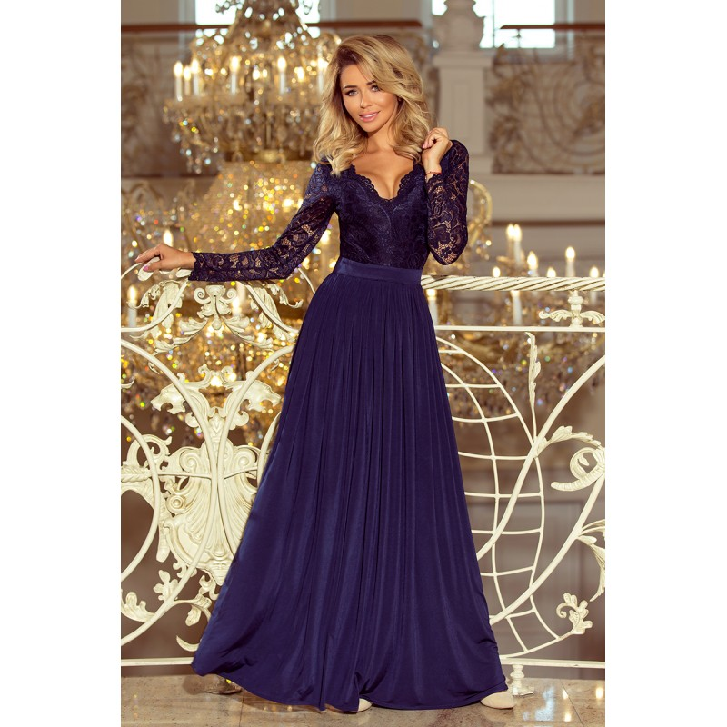 Šaty na ples dlhé v tmavo modrej farbe 9fac2742b25