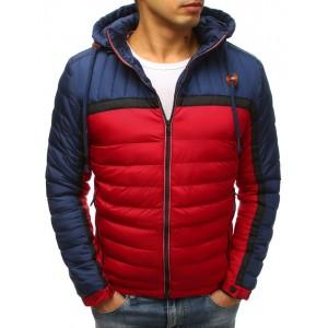 Pánska prešívaná červená pánska bunda s kapucňou a zapínaním na zips