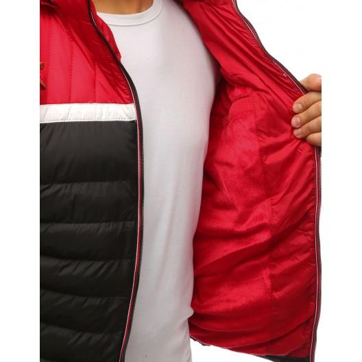 Športová pánska zimná bunda v trojfarebnom prevedení a s kapucňou
