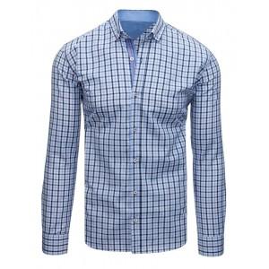 Pánska slim fit košeľa s dlhým rukávom v modrej farbe