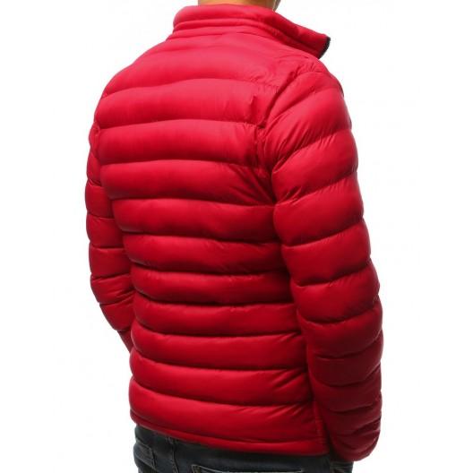 Moderná pánska červená prešívaná vetrovka na zimu do pásu