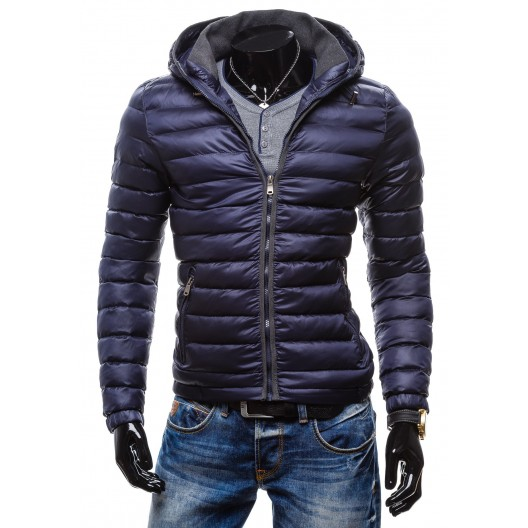 Štýlová pánska bunda na zimu sýto-modrej farby s kapucňou