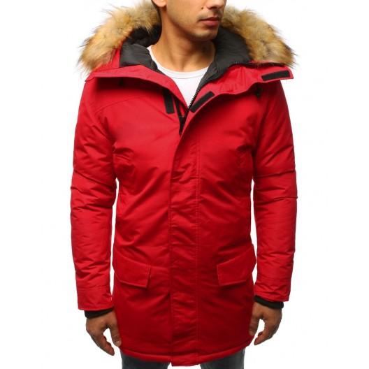 Červená pánska bunda s kožušinou a regulovateľnou šnúrkou v páse