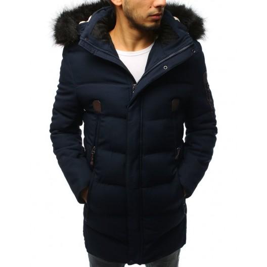 Štýlová tmavo modrá pánska bunda s ozdobnými zipsami a kapucňou