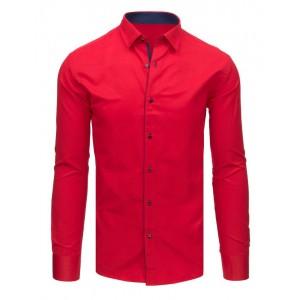 Červená pánska košeľa s dlhým rukávom do obleku
