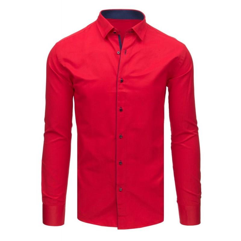 955874f58acd Červená pánska košeľa s dlhým rukávom do obleku