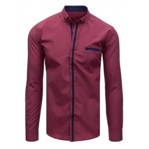 Štýlová pánska košeľa s dlhým rukávom bordovej farby