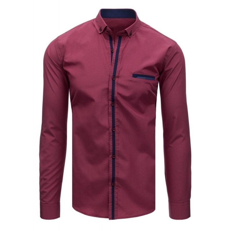 f663255f50a3 Štýlová pánska košeľa s dlhým rukávom bordovej farby