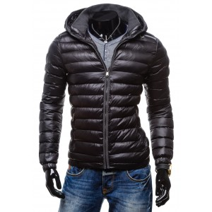Moderné pánske bundy na zimu čiernej farby s kapucňou na zips