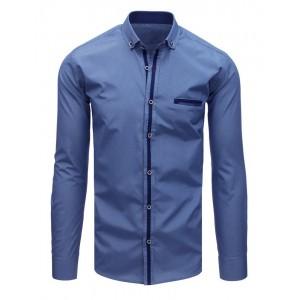 Elegantná pánska košeľa tmavo modrej farby k obleku
