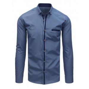 Tmavo modrá spoločenská košeľa s dlhým rukávom