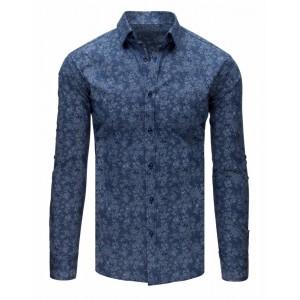 Exkluzívna pánska košeľa s dlhým rukávom tmavo modrej farby