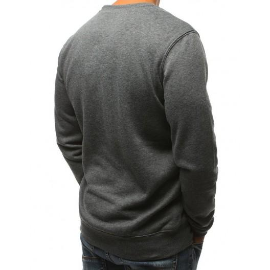 Streetová pánska mikina bez kapucne v sivej farbe s módnym vzorom