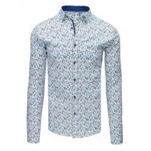 Luxusná vzorovaná pánska košeľa s dlhým rukávom bielej farby