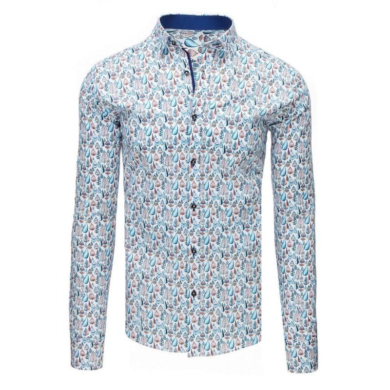 df5e40ea1 Luxusná vzorovaná pánska košeľa s dlhým rukávom bielej farby