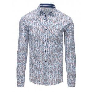Biela pánska košeľa s dlhým rukávom a farebným vzorom