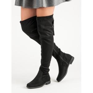 Čierne semišové čižmy nad kolená na nízkom podpätku