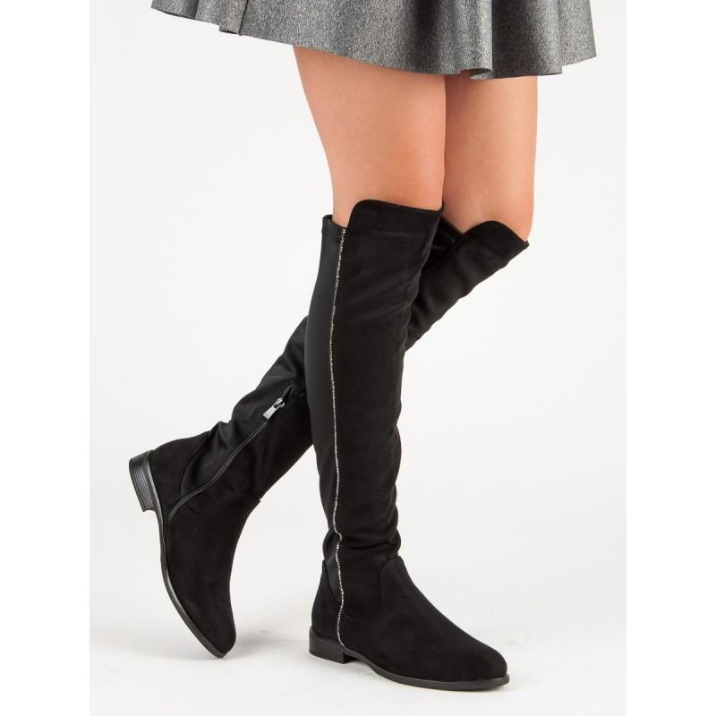 94f60d375efa Semišové čižmy nad kolená čiernej farby s nízkym opätkom
