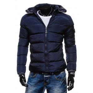 Moderné zimné bundy pre pánov granátovej farby s kapucňou