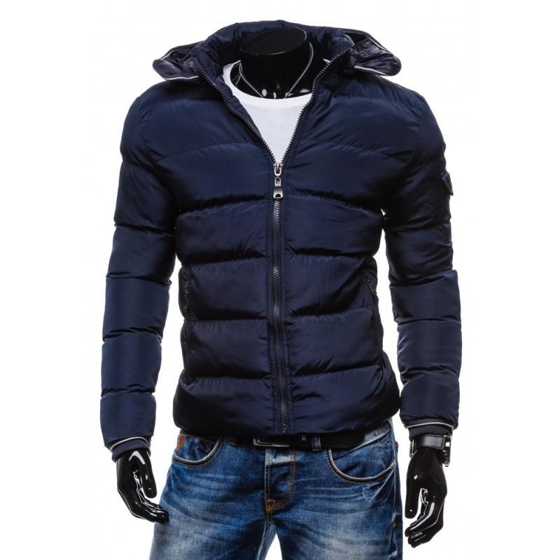 Moderné zimné bundy pre pánov granátovej farby s kapucňou ... 29a6fd68120
