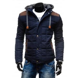 Elegantné pánske bundy na zimu modrej farby s hnedými nášivkami a kapucňou