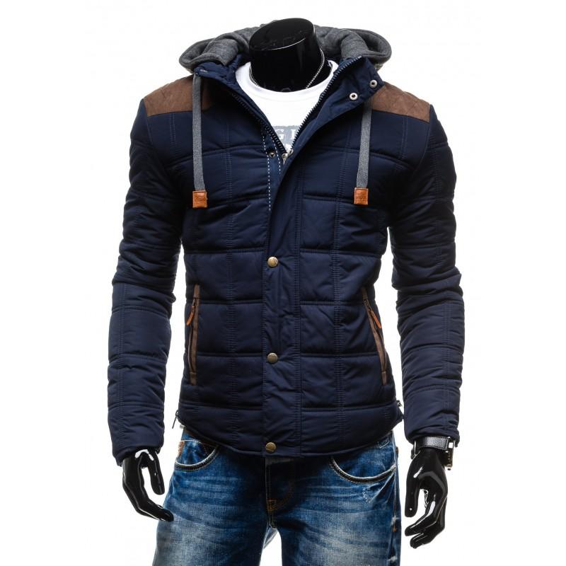 99f832492f74 Elegantné pánske bundy na zimu modrej farby s hnedými nášivkami a ...