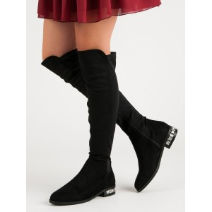 Semišové dámske čižmy na zimu s ozdobou na podpätku