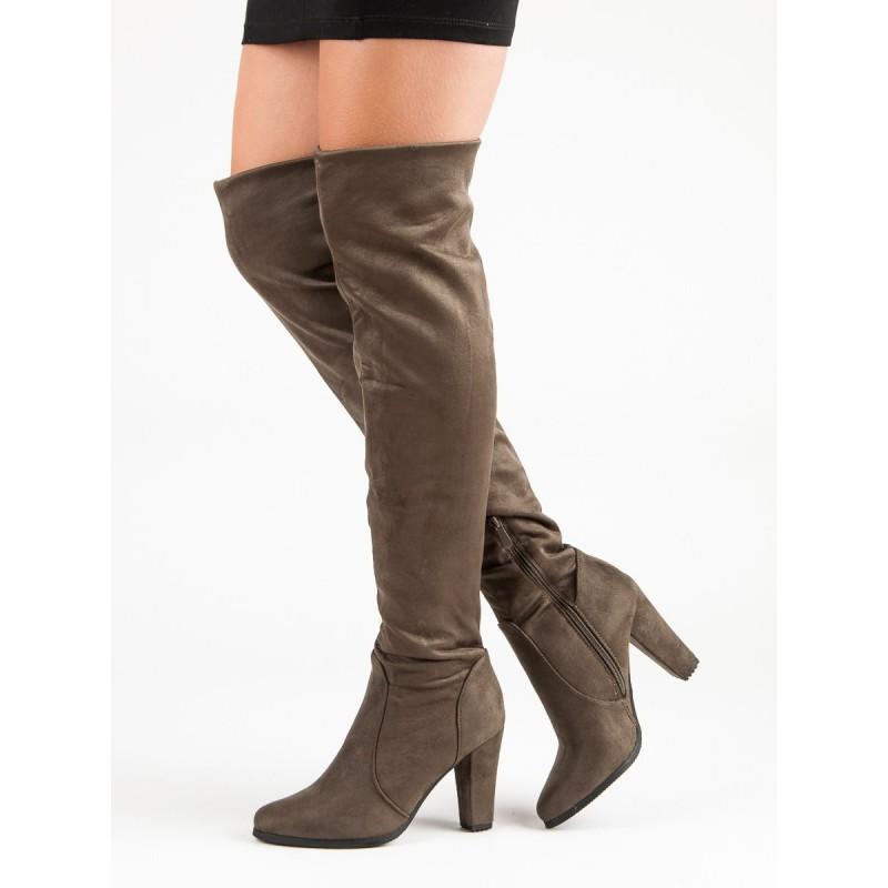 def4da872e Vysoké dámske čižmy nad kolena hnedej farby