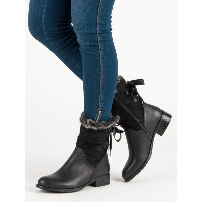 4b1b10cf52 Dámske čierne topánky s kožuštekom a viazaním
