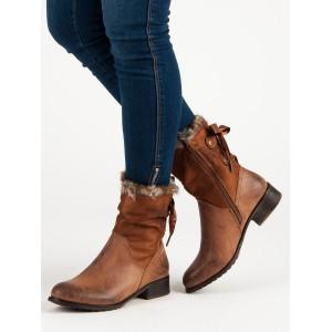 Členkové dámske topánky na zimu s kožuštekom v hnedej farbe