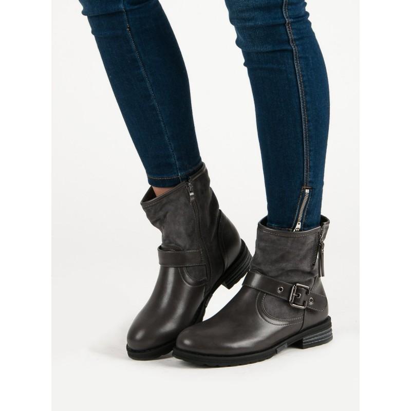 Sivé dámske topánky na zimu s prackou 5f61692a55b