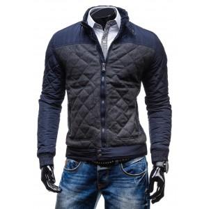 Značkové pánske bundy modrej farby na zips bez kapucne