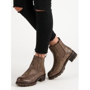 Kotníkové dámske topánky na jar v hnedej farbe