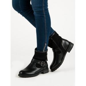Členkové dámske topánky na jar s prackou v čiernej farbe