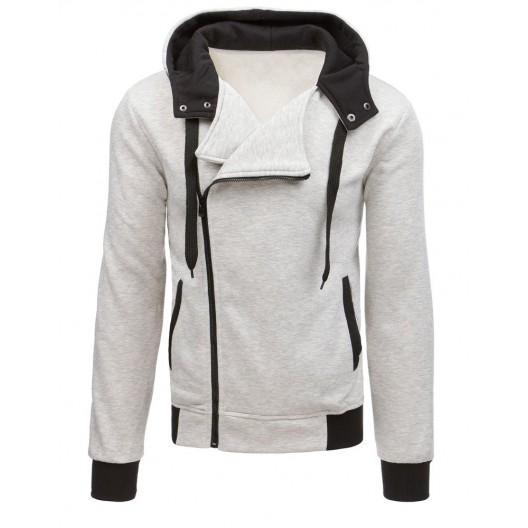 Trendy sivá pánska mikina so zapínaním na zips a bočnými vreckami