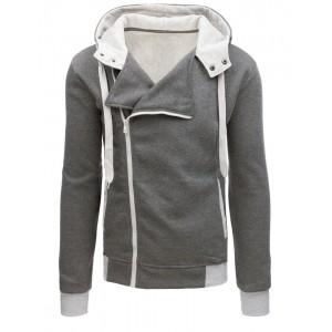 Štýlová tmavo sivá mikina na zips s kapucňou a trendy cvokmi